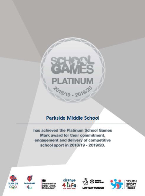 School Games Platinum 2018 19 2019 20 certificate